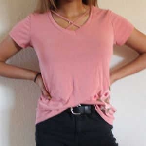 blush pink embroidered rose tee